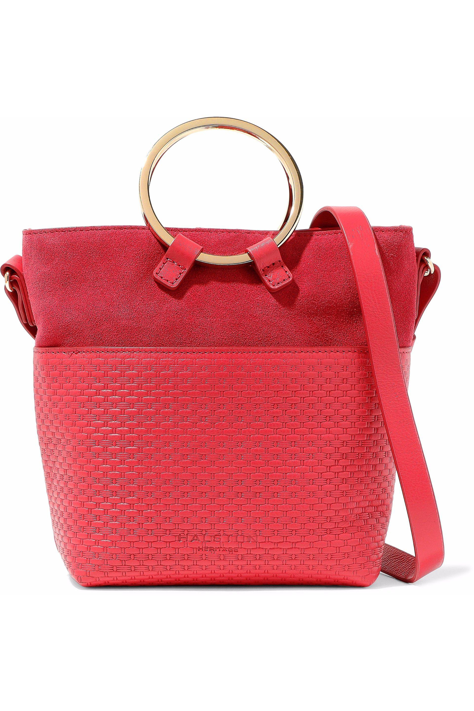 48ac3bb80587 Halston Heritage Nubuck-paneled Embossed-leather Shoulder Bag in Red ...