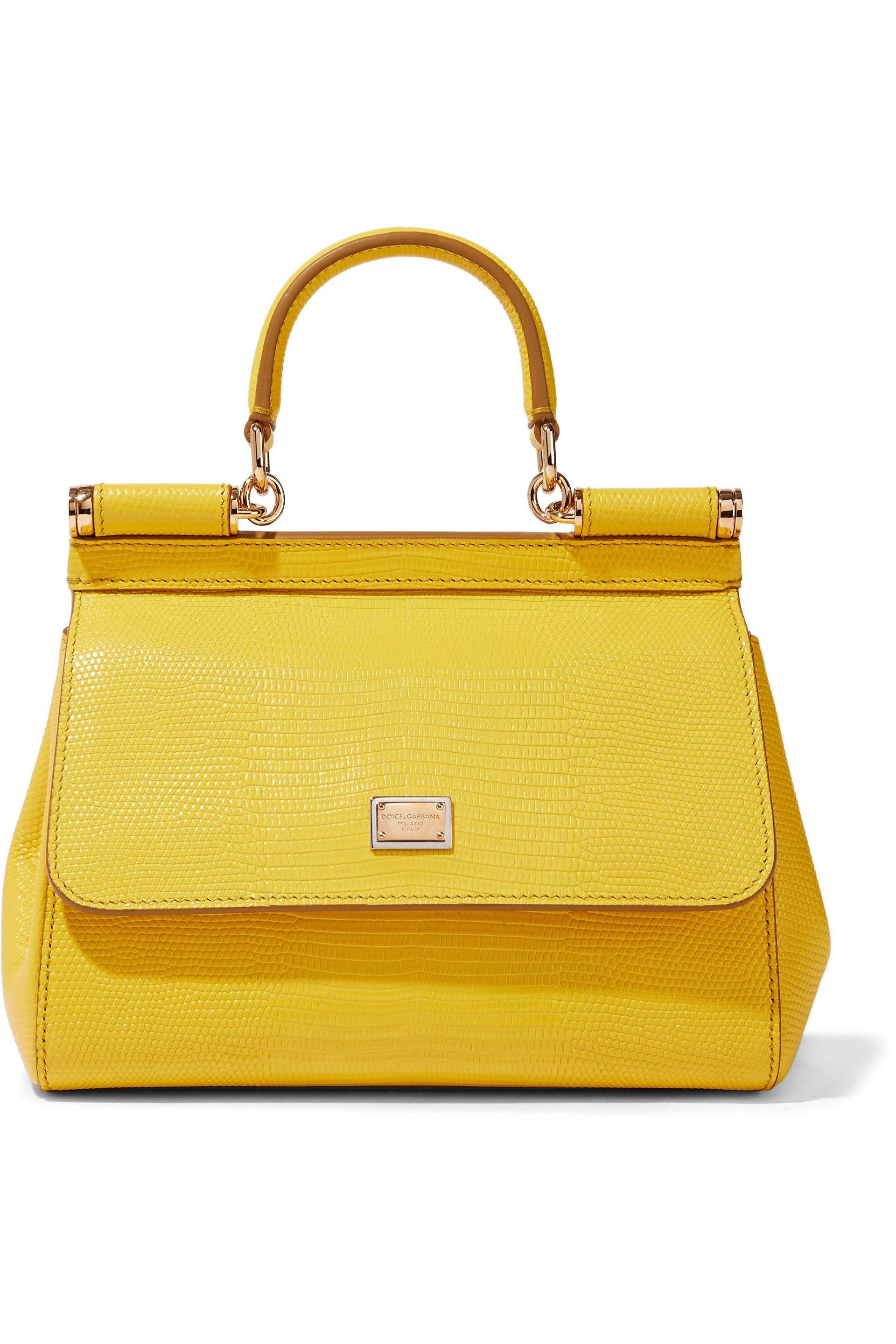 ff5ed01d2c95 Dolce   Gabbana. Women s Woman Sicily Lizard-effect Leather Shoulder Bag  Yellow