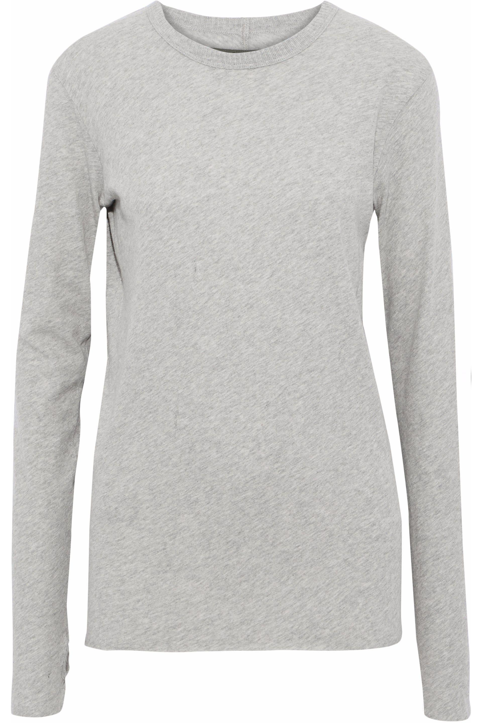 Enza Costa. Women's Gray Cotton And Cashmere-blend Top Light Grey