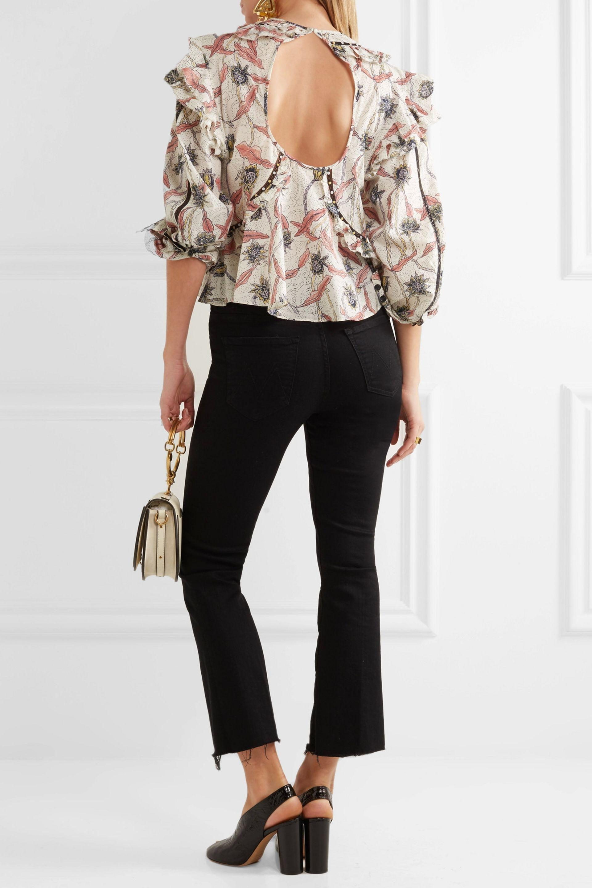 7ba0228cb24 Isabel Marant Woman Uster Studded Lace-trimmed Printed Cotton Blouse ...