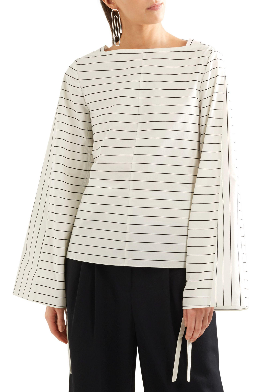 8721015293ef Lyst - Tibi Striped Cotton-poplin Top in White