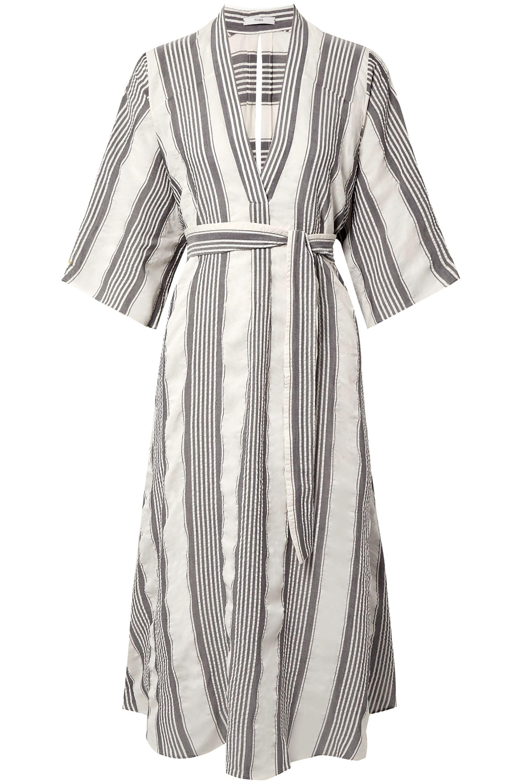 1829542b7dea00 TOME - Woman Cutout Striped Seersucker Midi Dress Off-white - Lyst. View  fullscreen