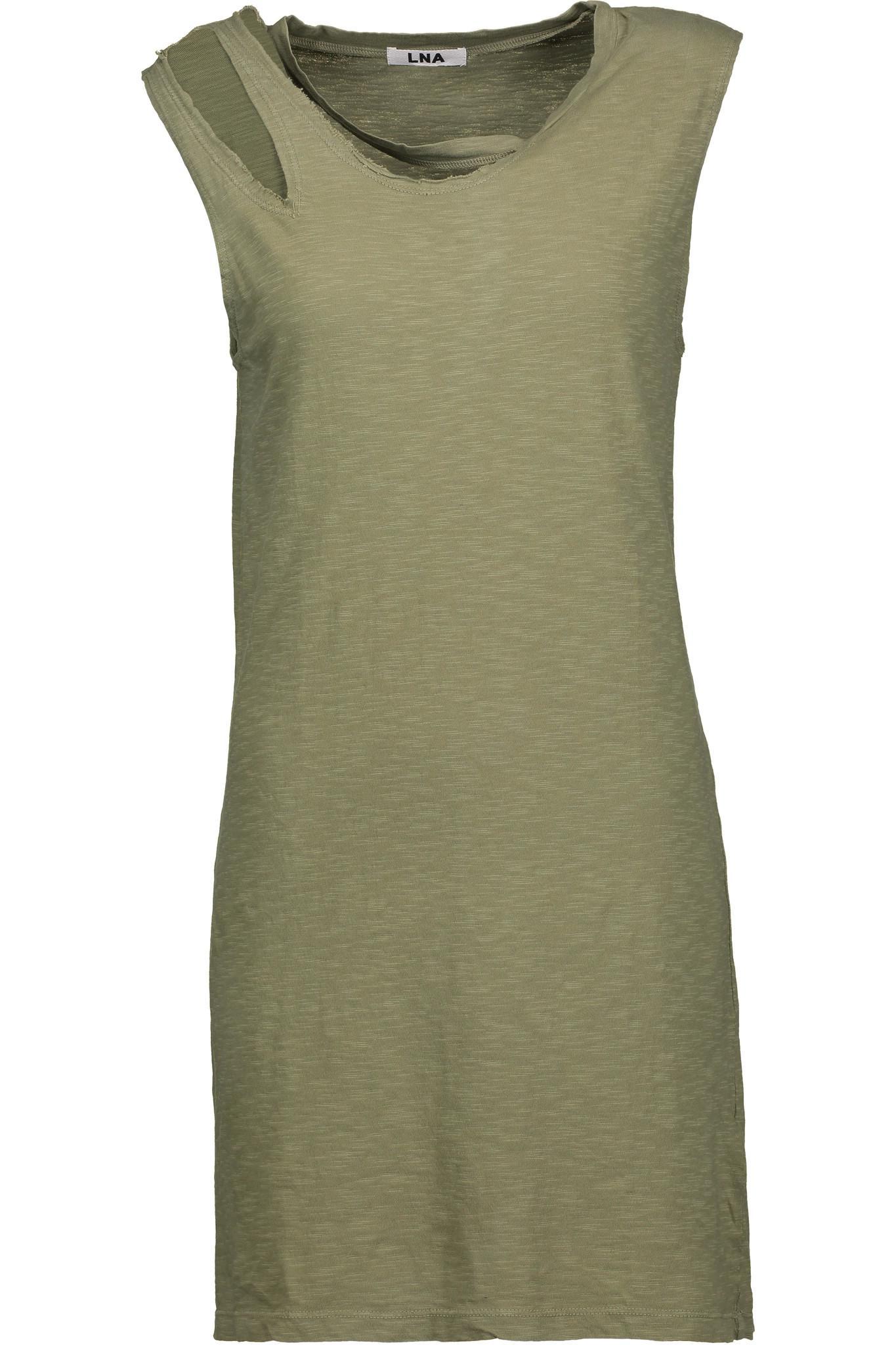 Lna Woman Cutout Mélange Cotton-blend Jersey Mini Dress Midnight Blue Size S LnA bEcTqD