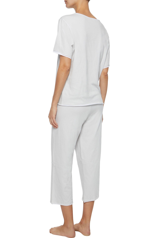 483f0f2ee Skin - Woman Cropped Pima Cotton Pajama Pants Light Gray - Lyst. View  fullscreen