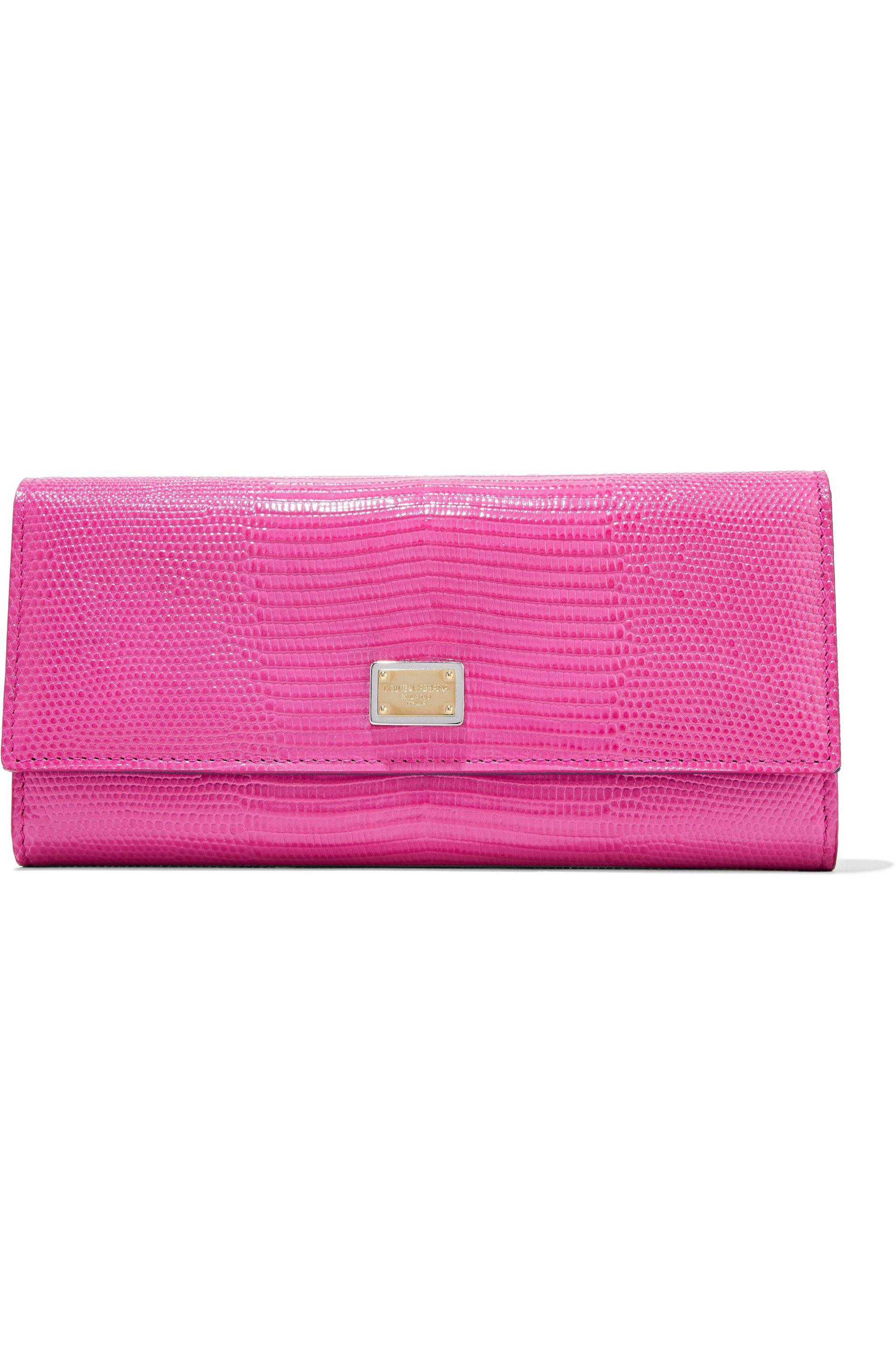 47b6160e37d Lyst - Dolce & Gabbana Lizard-effect Leather Continental Wallet in Pink