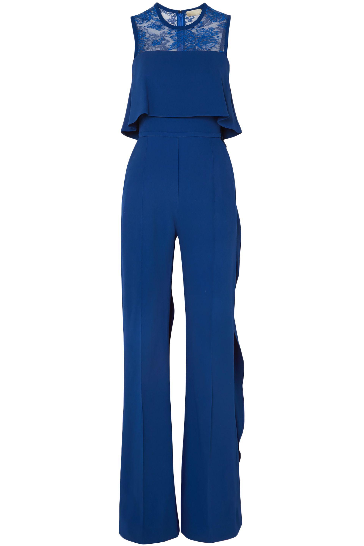 fb5cb3afa519 Elie Saab Ruffled Lace-paneled Stretch-crepe Jumpsuit in Blue - Save ...
