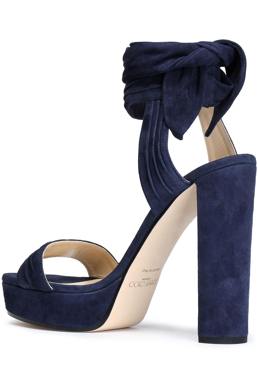 Jimmy Choo Woman Kaytrin Ruched Suede Sandals Navy Size 35 Jimmy Choo London sU4TEu