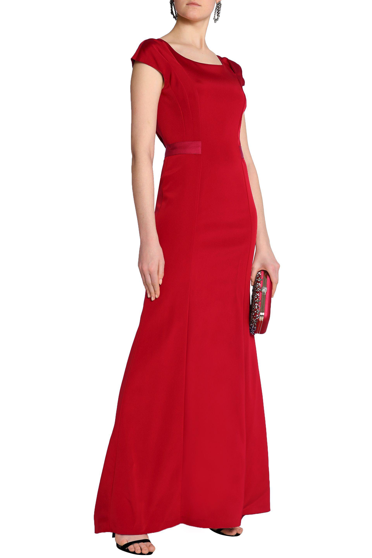 Many Kinds Of Sale Online Choice For Sale Oscar De La Renta Woman Grosgrain-trimmed Duchesse-satin Gown Crimson Size 2 Oscar De La Renta Cheap Sale Pictures Cheap Sale Fashion Style OcNruVpa