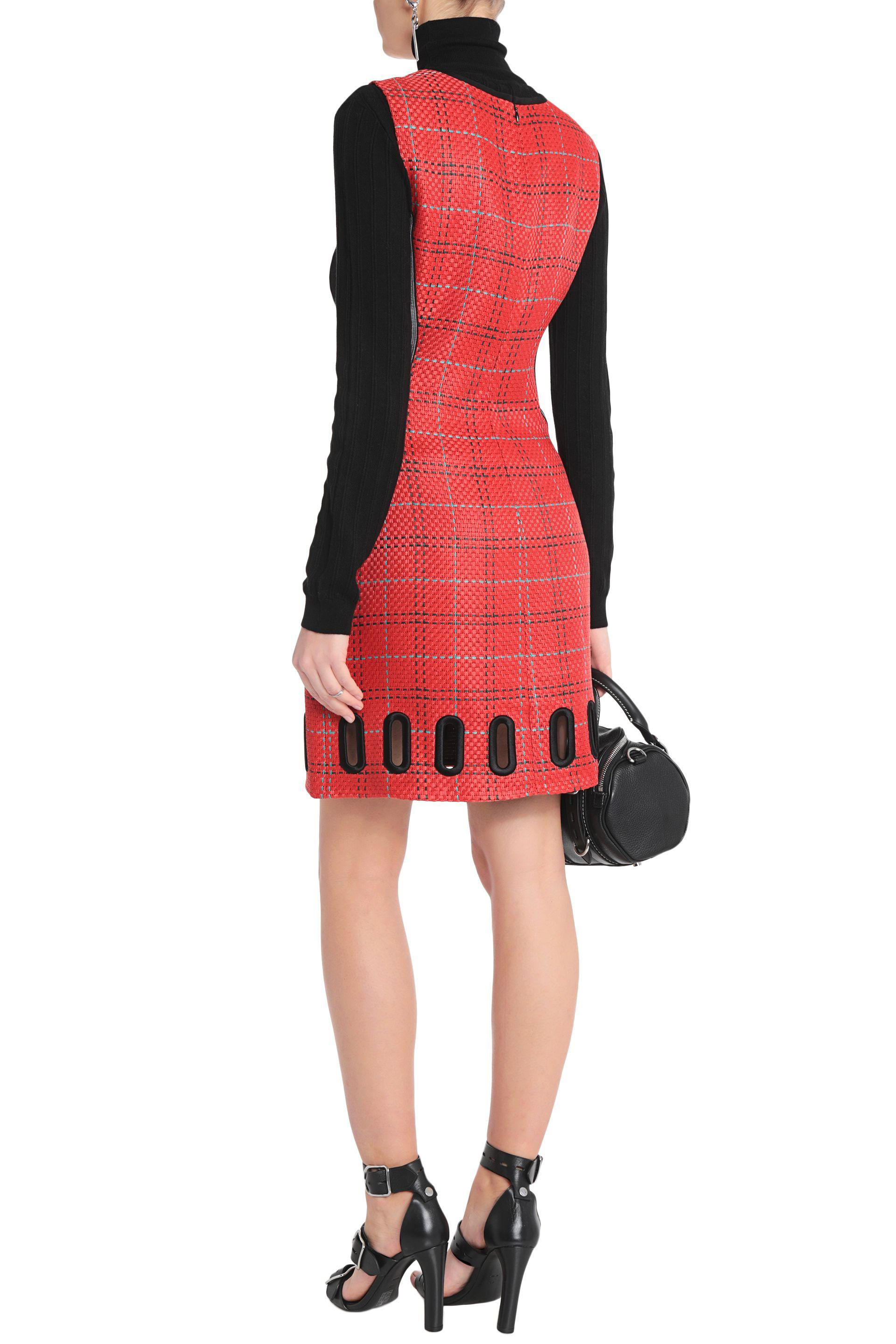 3.1 Phillip Lim Woman Cutout Paneled Basketweave Jacquard Dress Red Size 2 3.1 Phillip Lim NdIlEvvZV