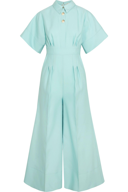 d282eecdbb5 Roksanda Kalisto Cropped Wool And Silk-blend Jumpsuit in Blue - Lyst