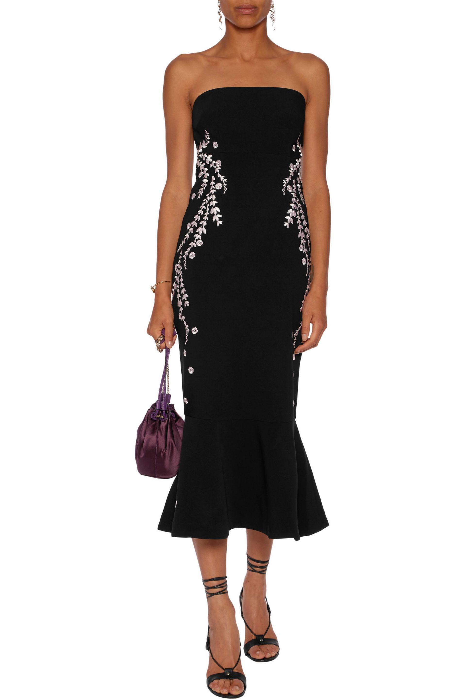 737d268d02ae Lyst - Cinq À Sept Luna Strapless Embroidered Faille Midi Dress in Black