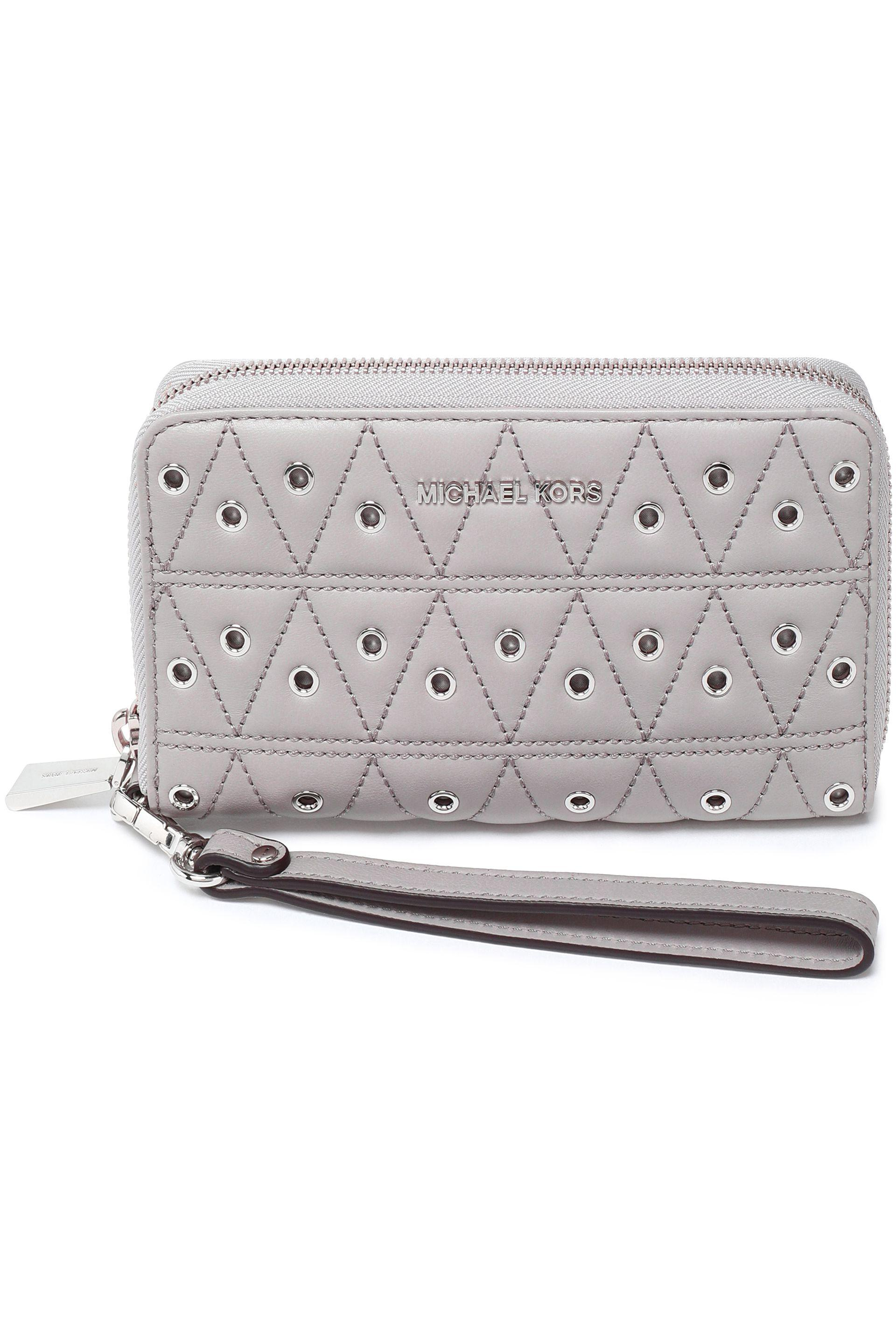 4878c26923646 ... purse with keyring; product image; michael michael kors eyelet  embellished quilted leather wall ...