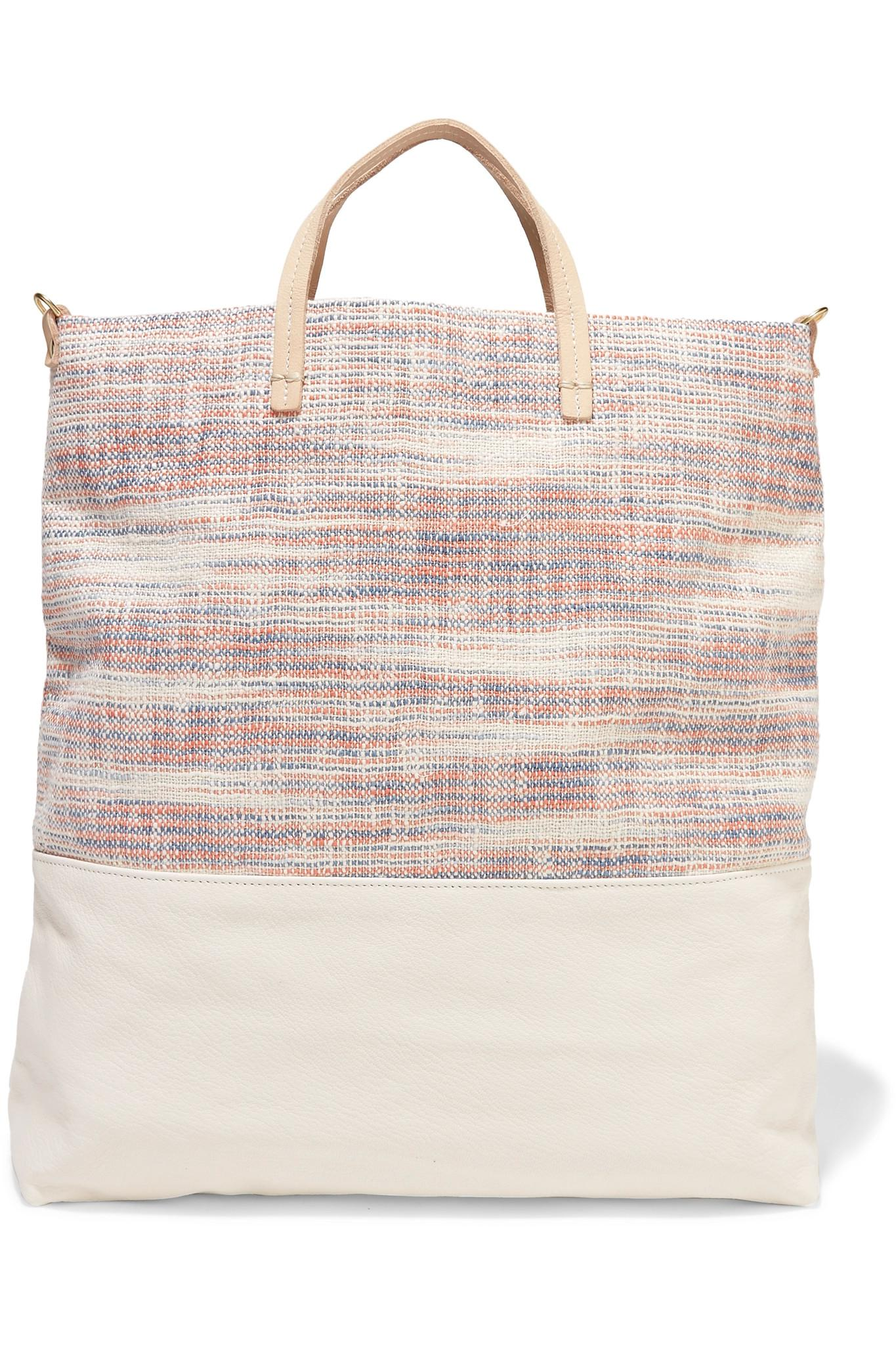 20a3d06cd02a Lyst - Clare V. Matilde Woven Canvas And Textured-leather Tote in White
