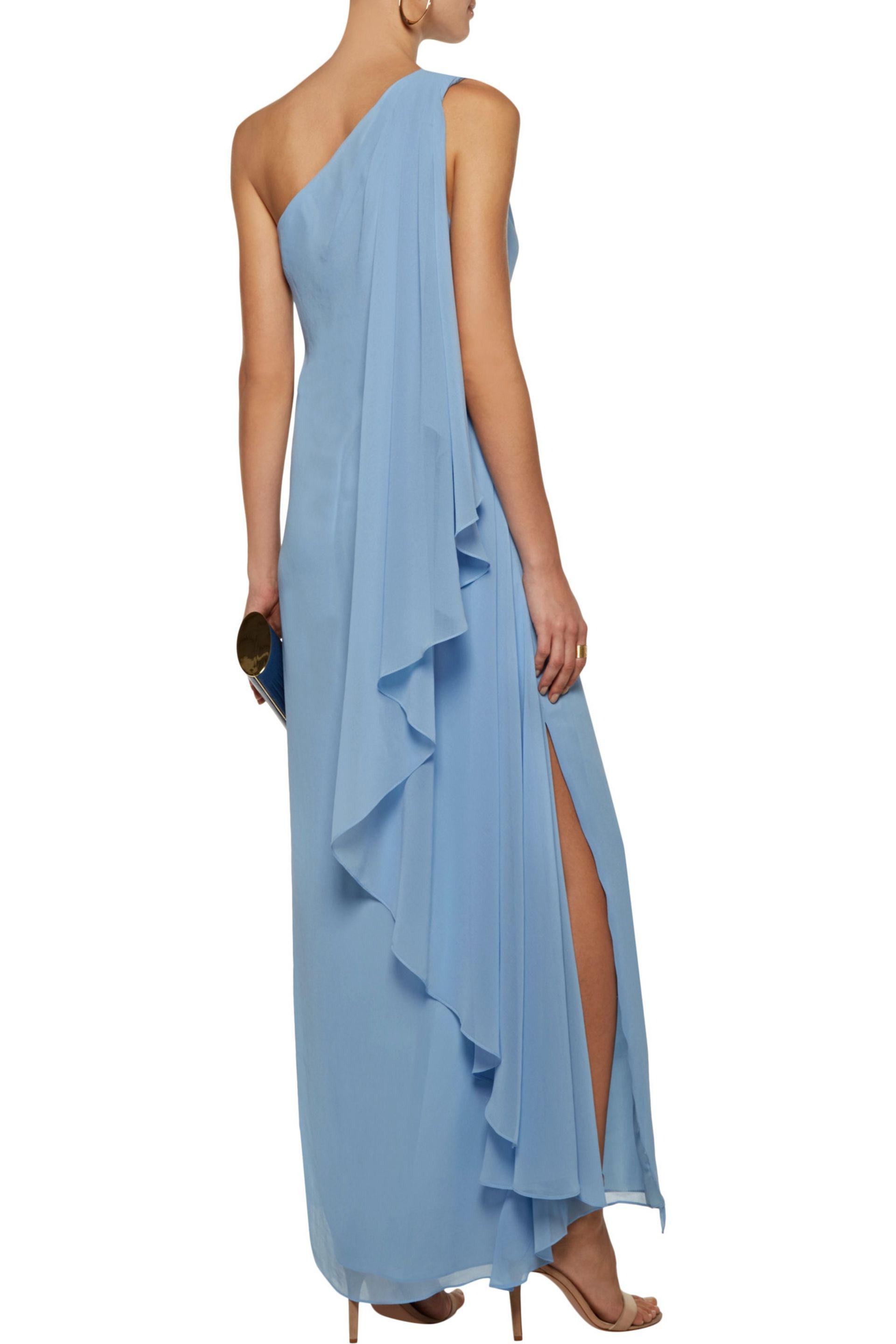 Badgley Mischka - Blue One-shoulder Draped Crepe De Chine Gown - Lyst. View  Fullscreen