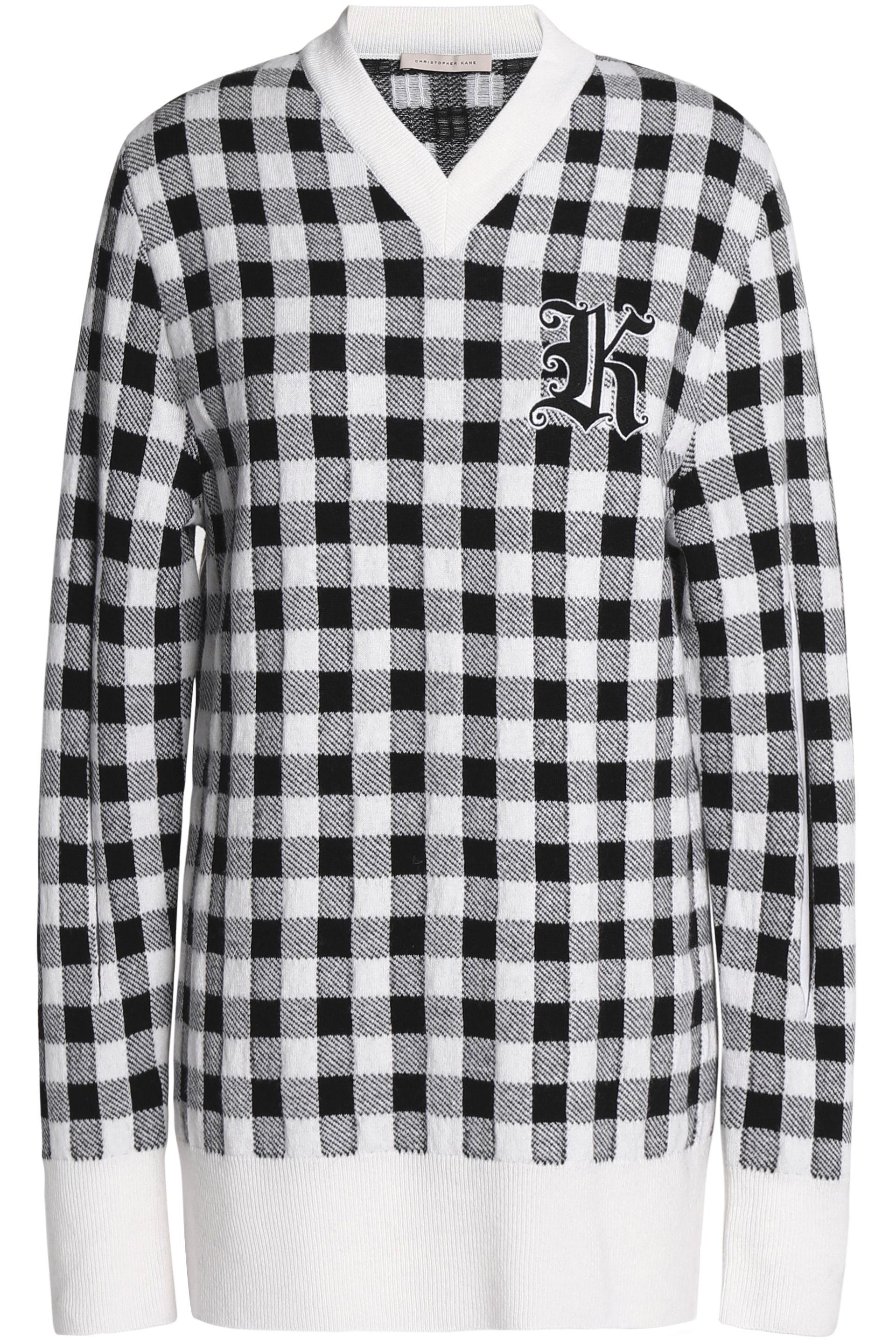 Christopher Kane Woman Appliquéd Checked Wool And Cashmere-blend Sweater Black Size XL Christopher Kane Discount Outlet Locations Cheap Sale How Much Best Sale MLjwI