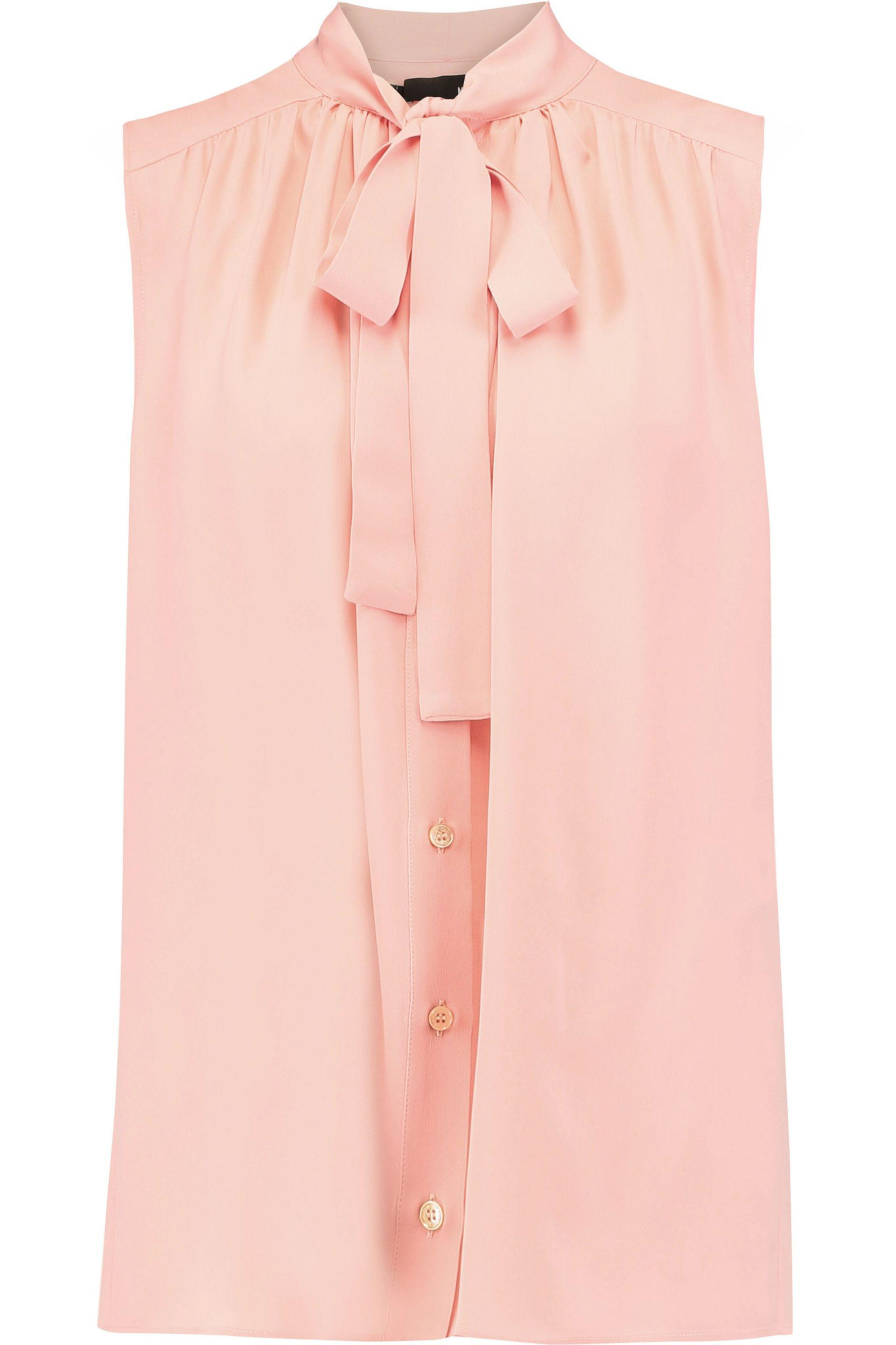 Love Moschino. Women's Pink Pussy-bow Pleated Georgette Top
