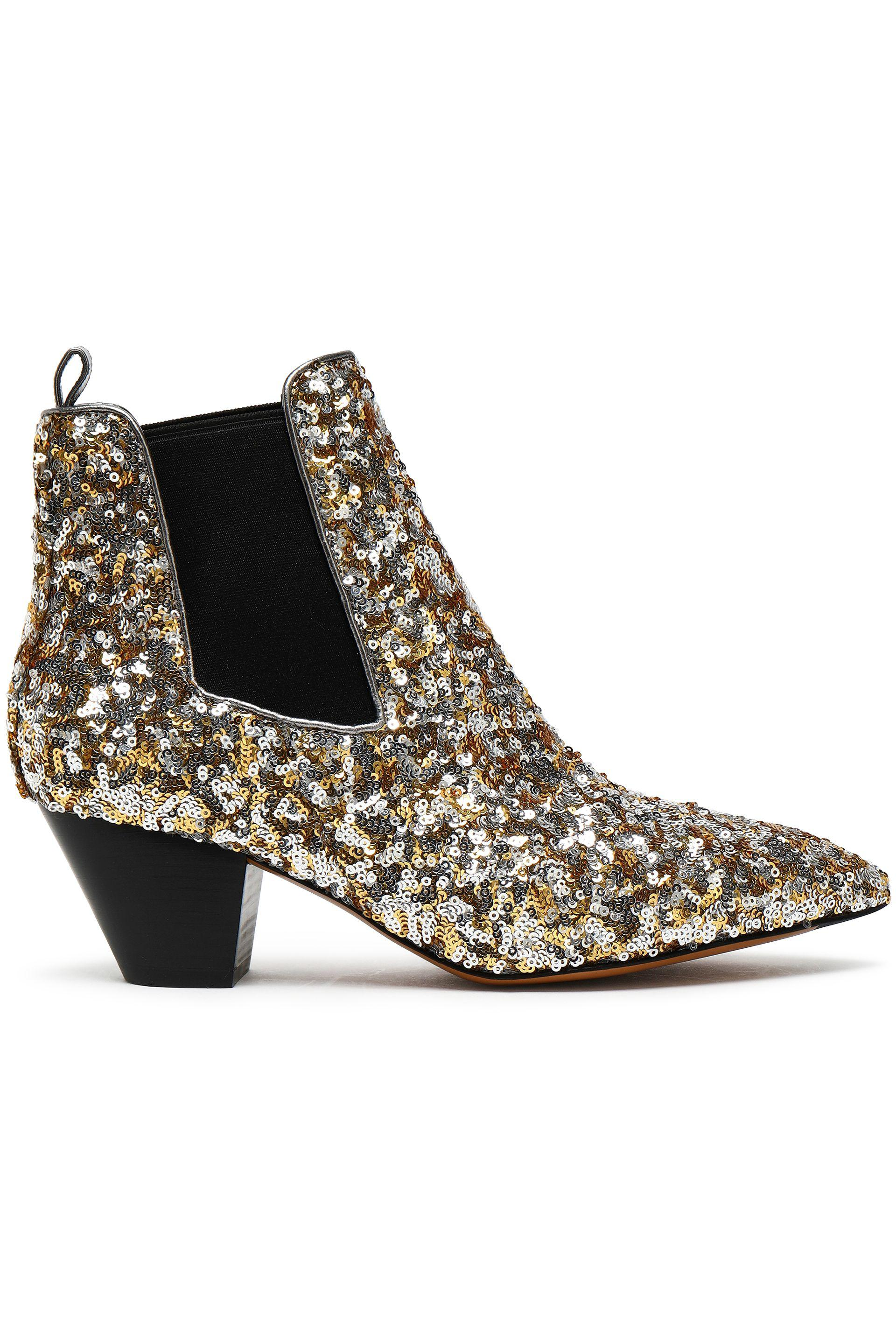 eae60519c Marc Jacobs Woman Sequined Woven Ankle Boots Silver Size 40 in ...