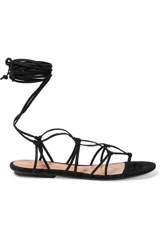 Schutz. Women's Black Bunnie Lace-up Leather Sandals