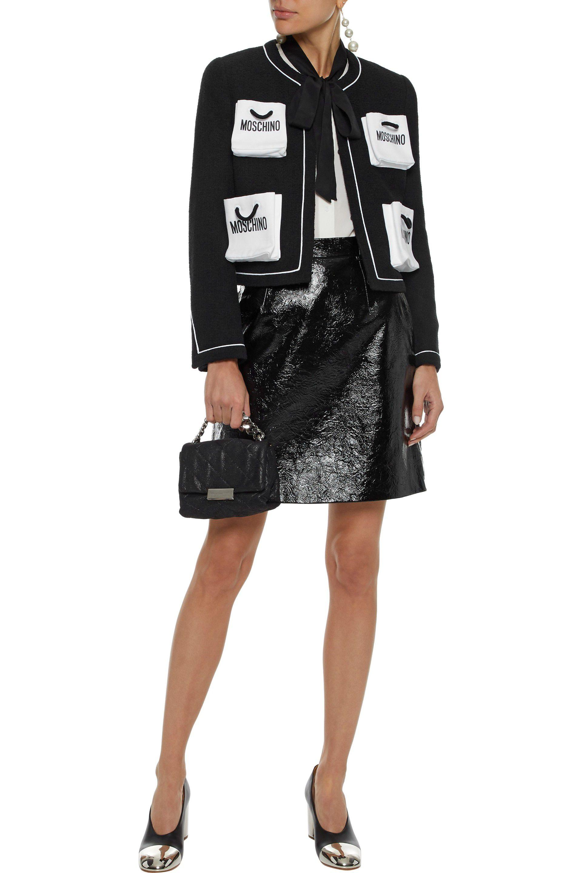 5338d187698 Lyst - Moschino Woman Printed Cotton-blend Tweed Jacket Black in Black