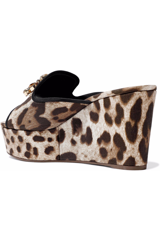9b171f00b81 Lyst - Dolce   Gabbana Woman Crystal-embellished Leopard-print Twill ...