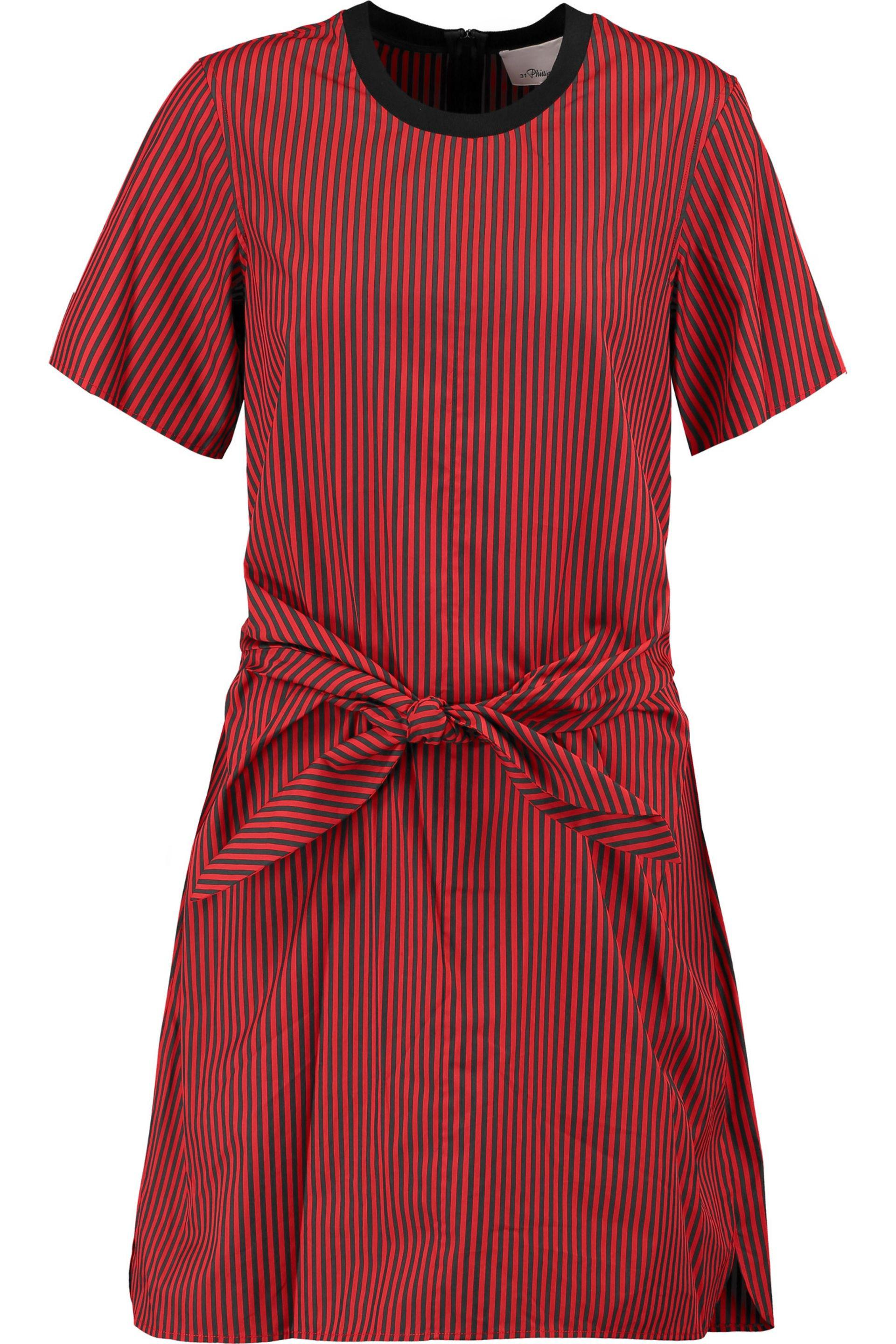 3.1 Phillip Lim Woman Knotted Striped Cotton And Silk-blend Shirt Tomato Red Size 2 3.1 Phillip Lim Outlet Marketable Ebay Online Online Cheap Fast Express za94y