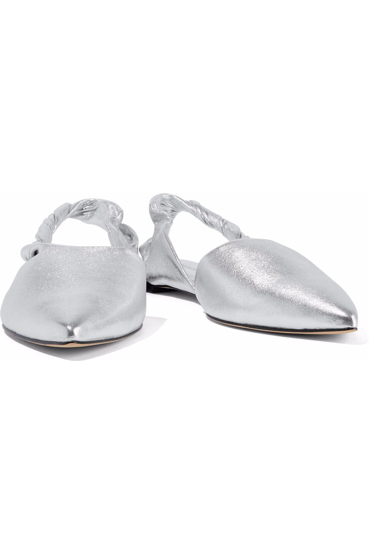 d96412721c9 Sigerson Morrison - Woman Sham Metallic Leather Slingback Point-toe Flats  Silver - Lyst. View fullscreen