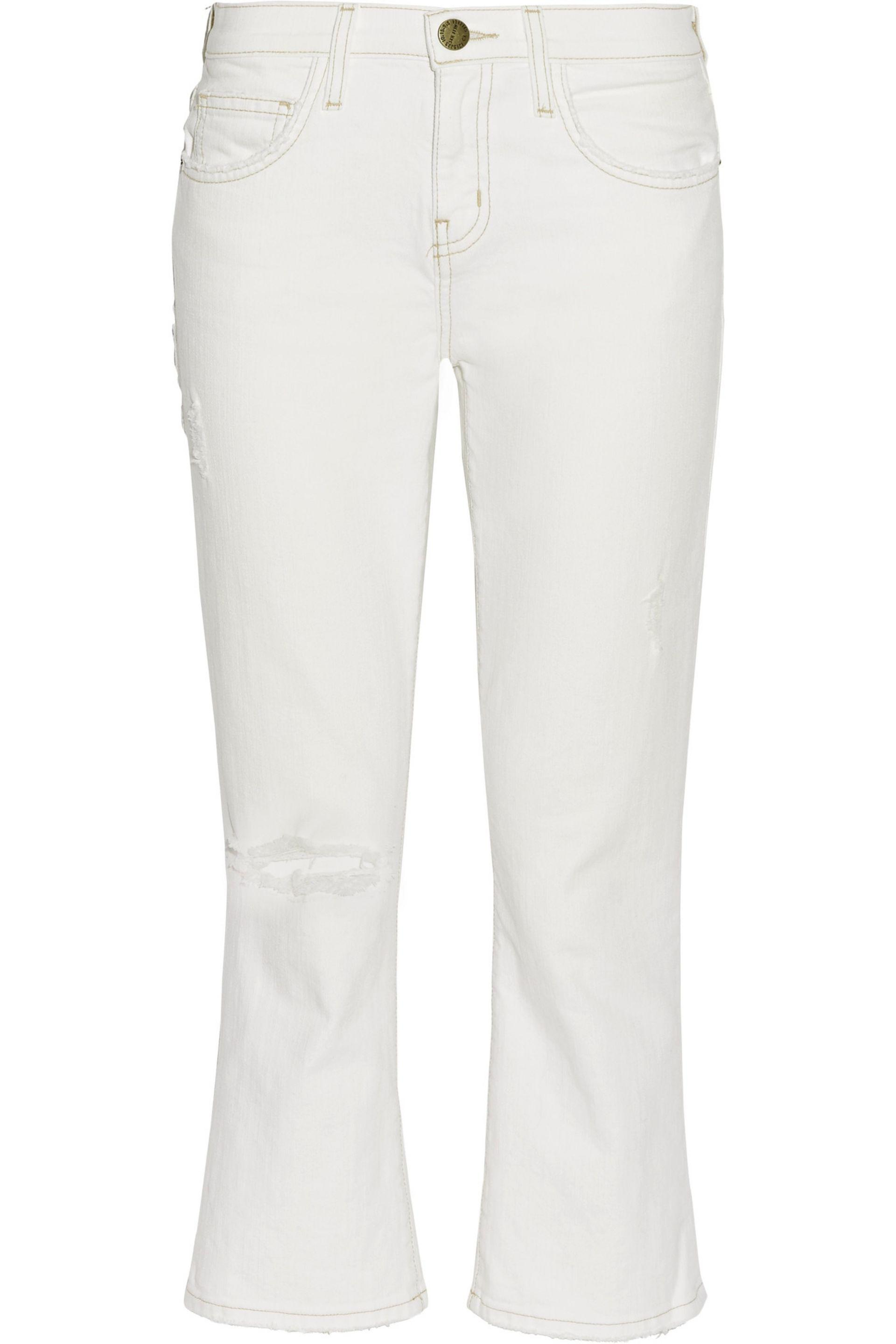 Current/elliott Woman The Kick Jean Cropped Mid-rise Bootcut Jeans White Size 25 Current Elliott Really Explore Cheap Price Buy Cheap Best Wholesale GlRWhk9wV