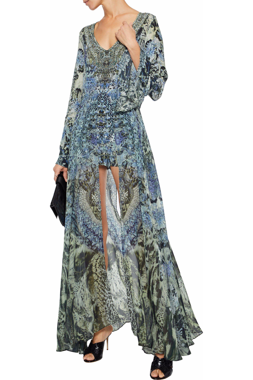 294a25b00c3 Lyst - Camilla Hush Hush Layered Embellished Printed Silk Playsuit ...