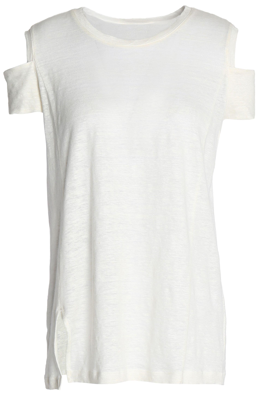 Halston Heritage Woman Cold-shoulder Slub Linen-jersey Top Ivory Size L Halston Heritage Finishline Discount Prices 58QsyS7Ke