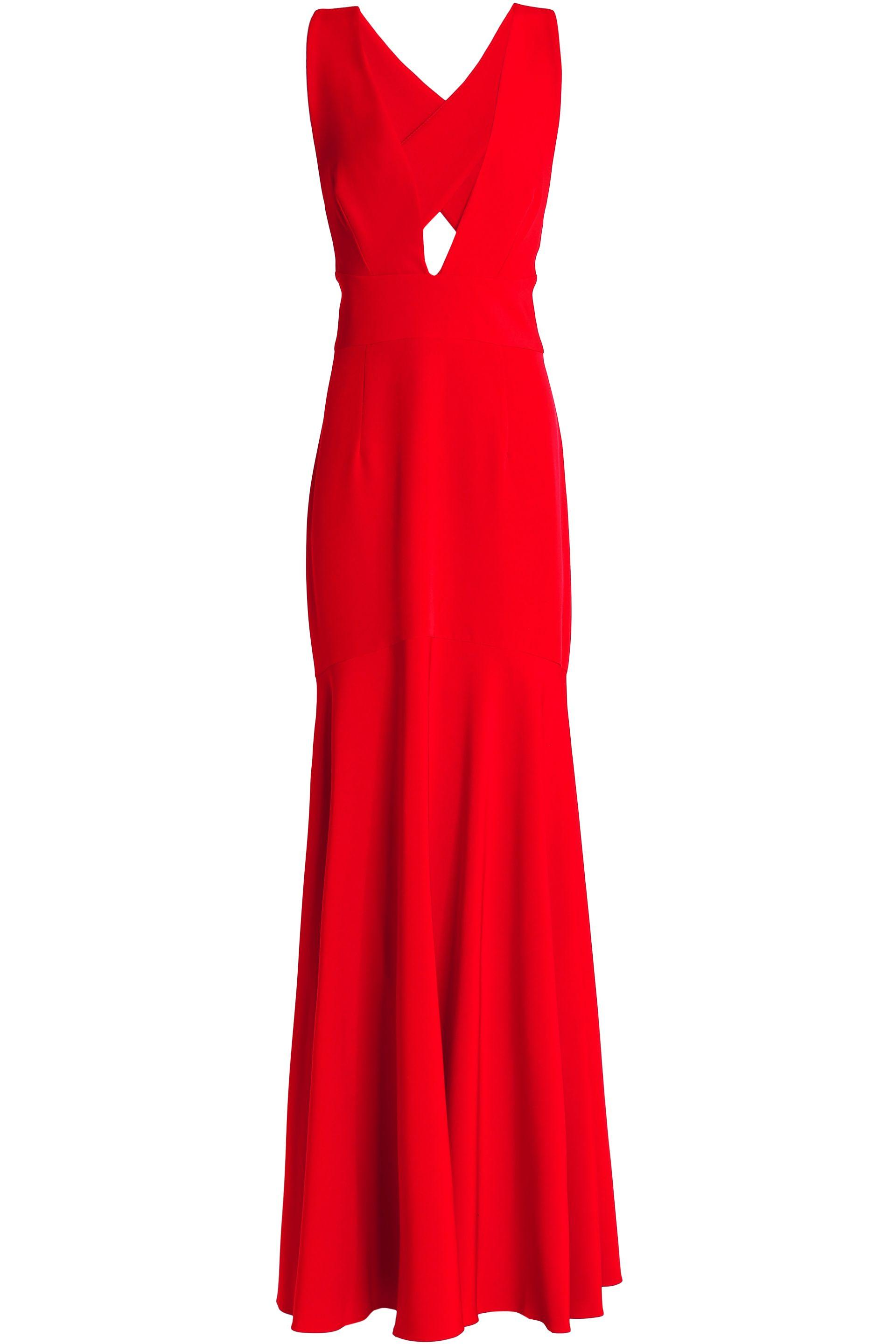 3599a58d200 MILLY Woman Open-back Fluted Cady Gown Tomato Red in Red - Lyst