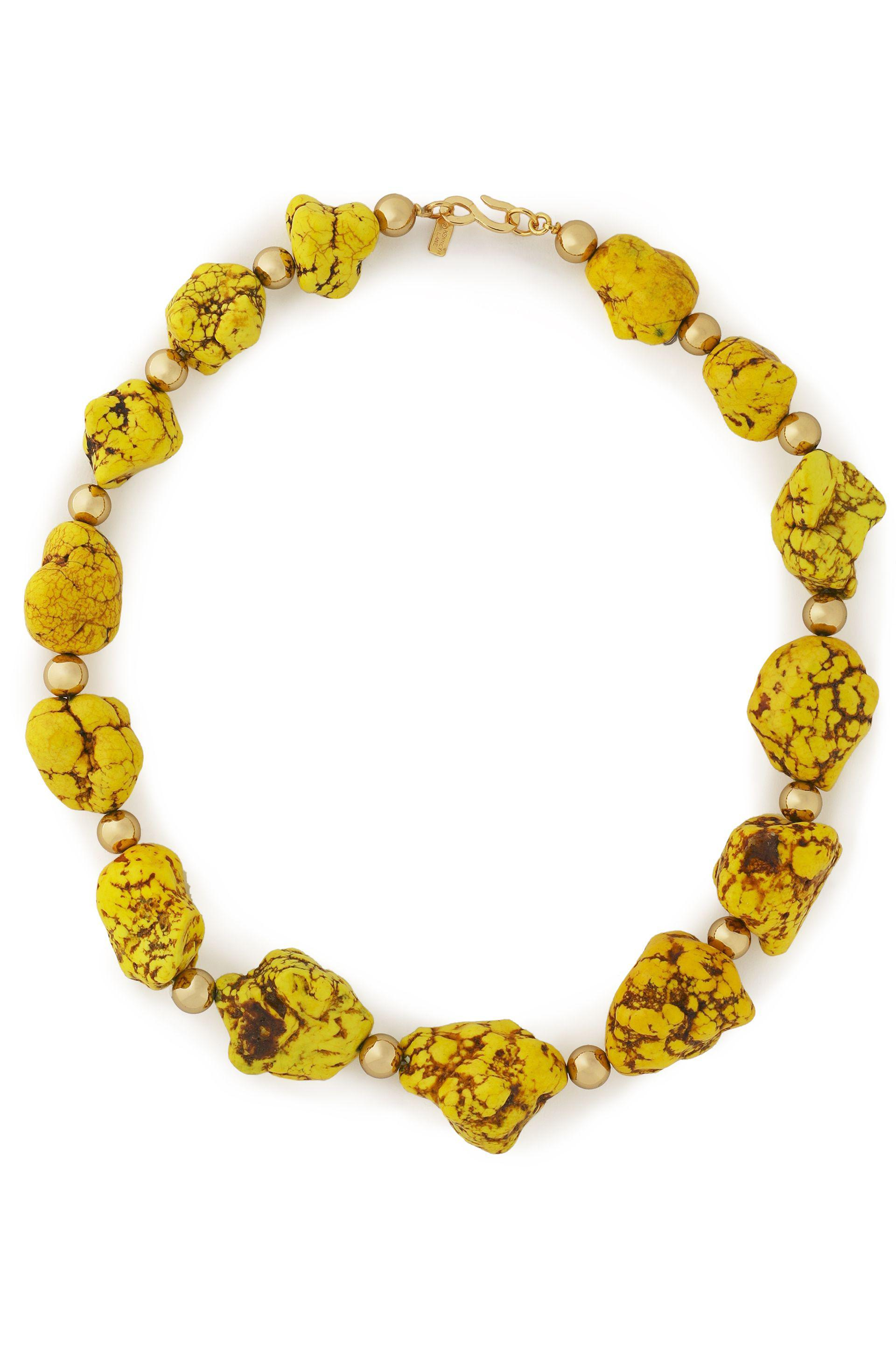 Kenneth Jay Lane Kenneth Jay Lane Woman Gold-tone Beaded Stone Necklace Yellow Size LhBt8Oco