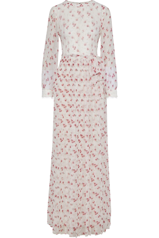 b674775ec6df Mikael Aghal. Women's Woman Chantilly Lace-appliquéd Floral-print Chiffon  Maxi Dress White