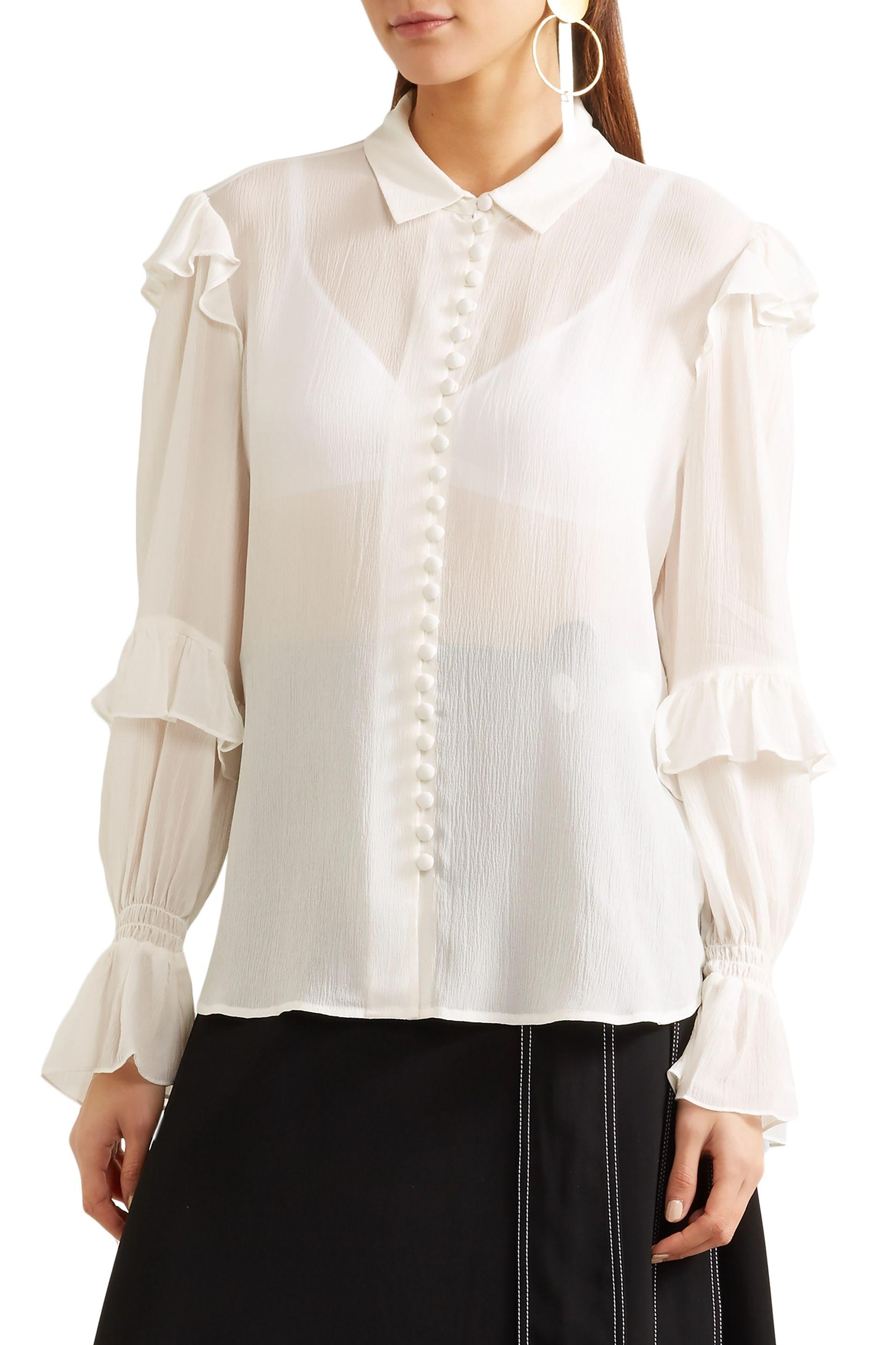d2e5ffa2129155 Lyst - FRAME Woman Ruffle-trimmed Silk-georgette Blouse Off-white