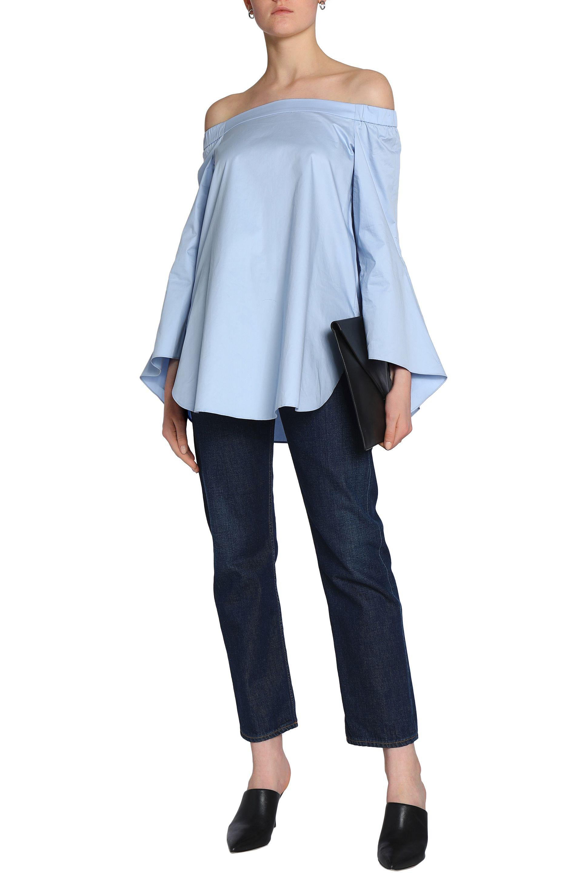 be4804f40d650 Lyst - Tibi Off-the-shoulder Draped Cotton-poplin Top in Blue