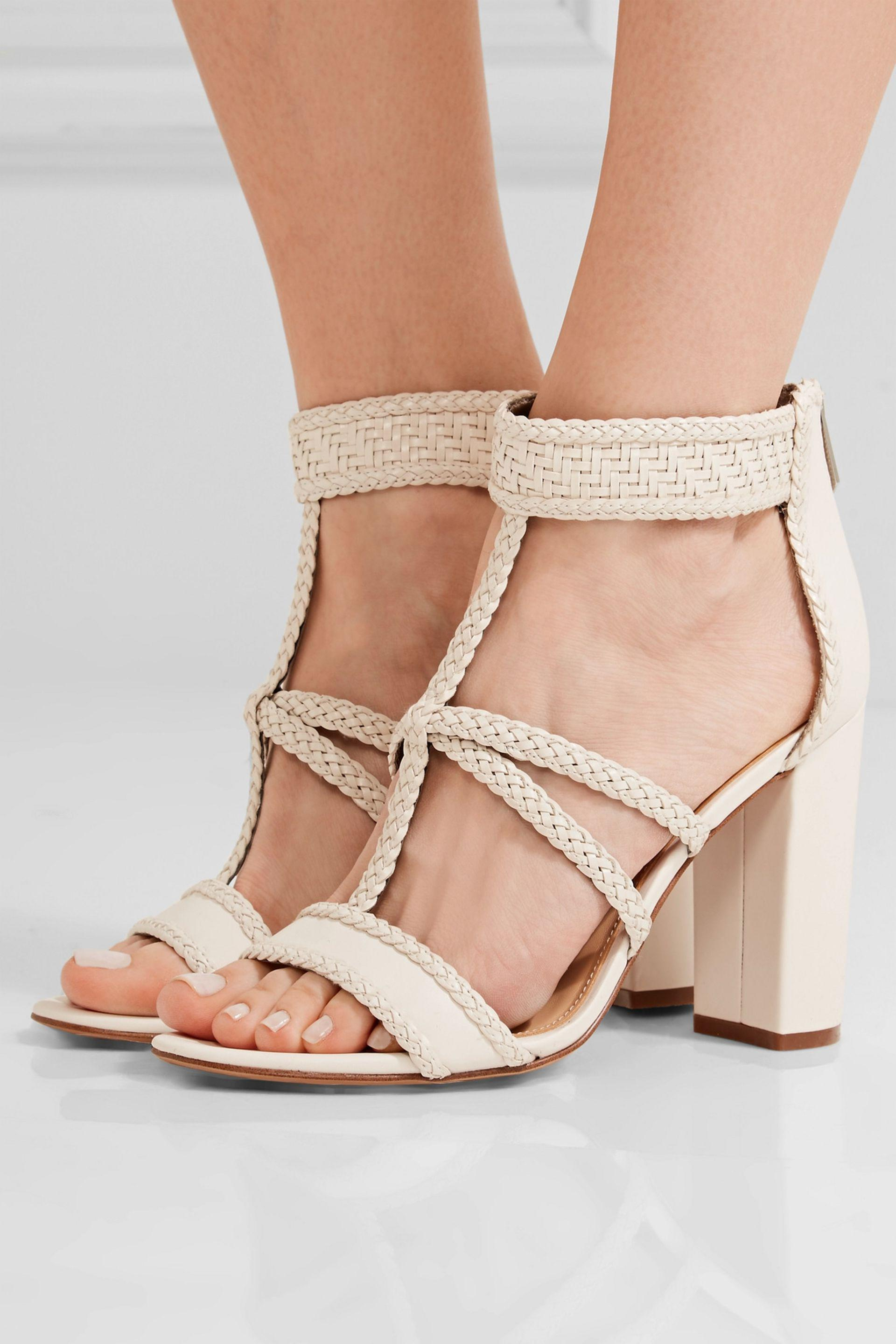 514163a492ee59 Lyst - Sam Edelman Yordana Woven Leather Sandals in White