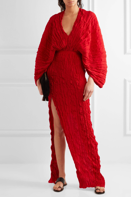 Lyst Juan Carlos Obando Crinkled Pliss 233 Silk Maxi Dress