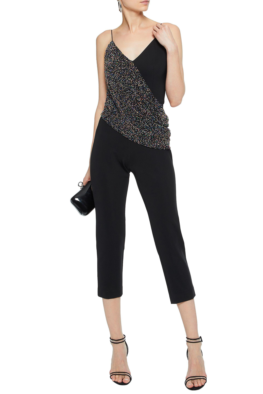 d9f377b85f32 Lyst - Cushnie et Ochs Bead-embellished Draped Crepe Jumpsuit in Black