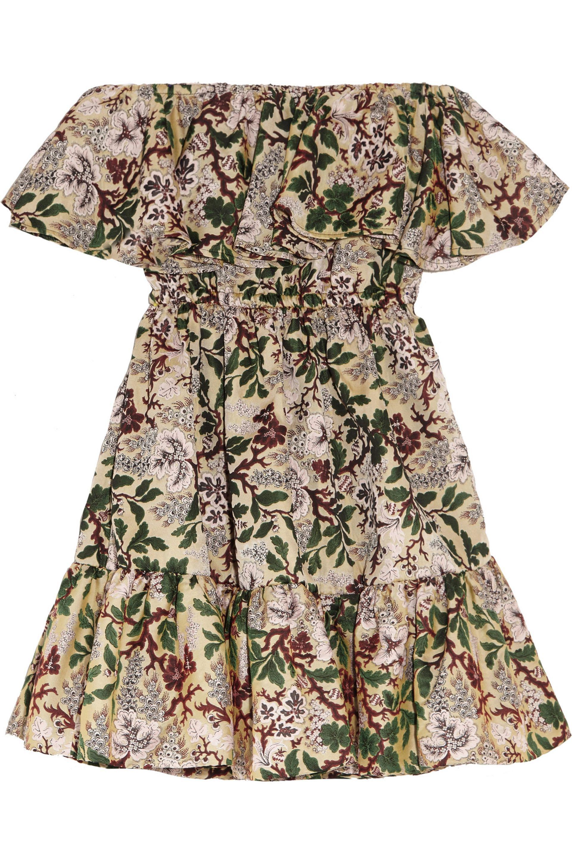 Philosophy Di Lorenzo Serafini Woman Off-the-shoulder Floral-jacquard Mini Dress Green Size 48 Philosophy di Lorenzo Serafini rGjU9PE1v