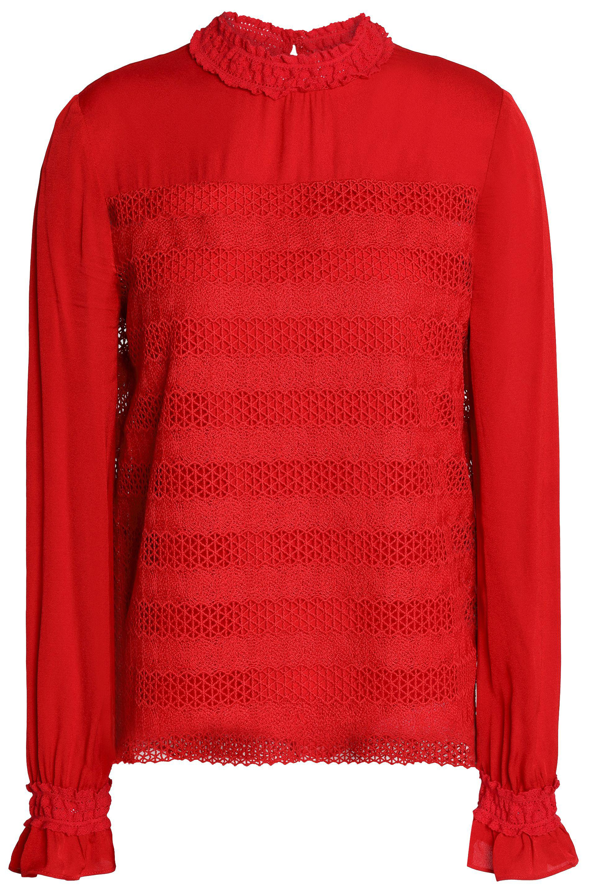 0b544d5914feb3 Maje Guipure Lace And Crepe Top in Red - Lyst
