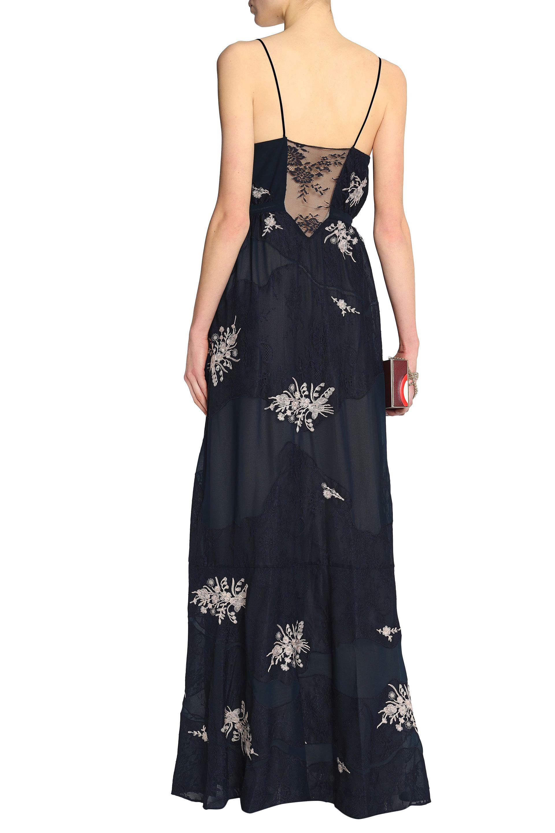 Haute Hippie Woman Embroidered Lace And Crepe De Chine Maxi Dress Midnight Blue Size 4 Haute Hippie Buy Cheap For Nice Buy Cheap Pick A Best Fast Delivery 1e68SaPMW