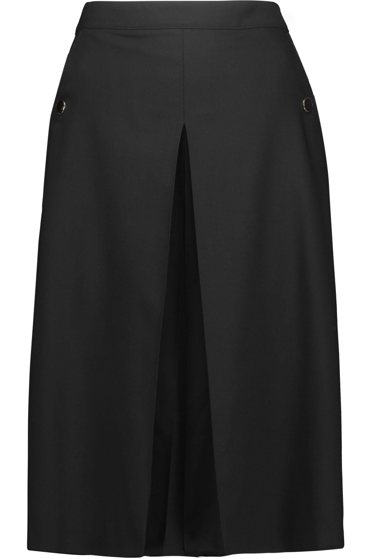 Vanessa Seward. Women's Black Billy Pleated Wool-blend Culottes