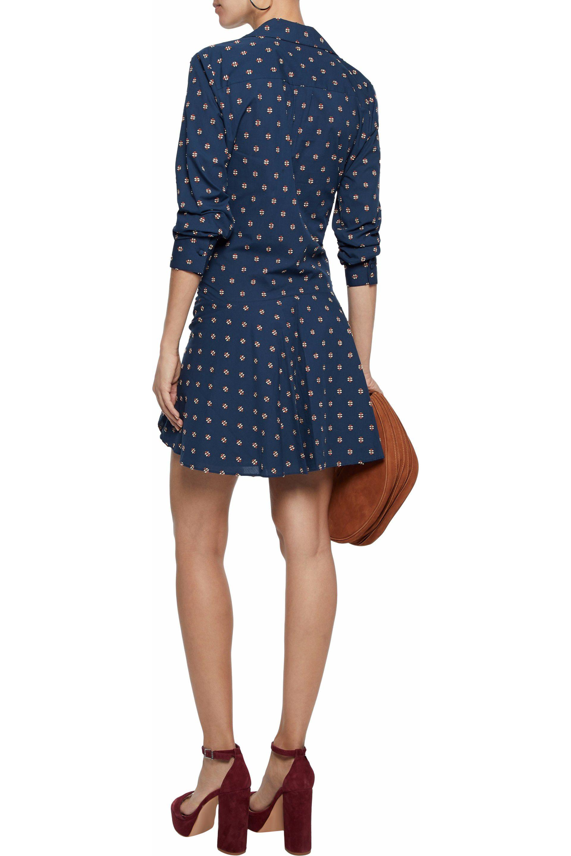 Derek Lam 10 Crosby Woman Tie-front Cotton-poplin Mini Dress Midnight Blue Size 10 Derek Lam bwDSHaGym