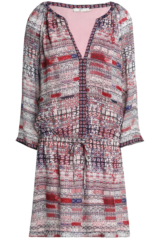 Joie Woman Gathered Printed Silk Crepe De Chine Mini Dress Multicolor Size M Joie RAkKmvp