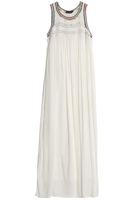 a1f13d63325e4 Antik Batik Crochet-paneled Pleated Cotton-gauze Maxi Dress in White ...