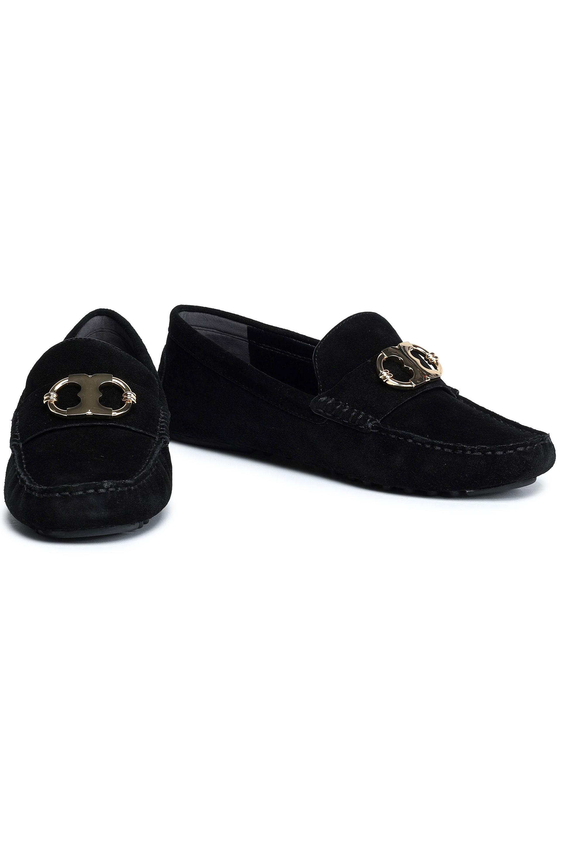 53af64ad1caf Tory Burch - Black Embellished Suede Loafers - Lyst. View fullscreen