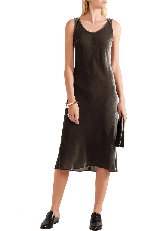 Vince   Green Velvet Midi Dress   Lyst. View Fullscreen