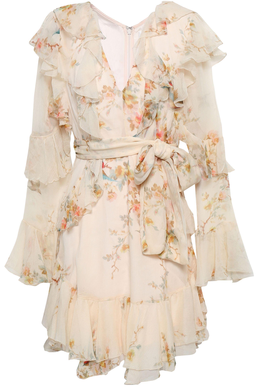 9eec31ed7b3 Zimmermann. Women's Natural Woman Ruffled Floral-print Silk-georgette Mini  Dress Cream