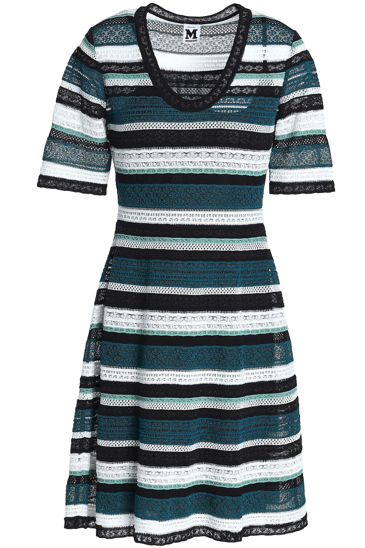 177d56a040eba2 M Missoni Woman Striped Crochet-knit Mini Dress Petrol - Lyst