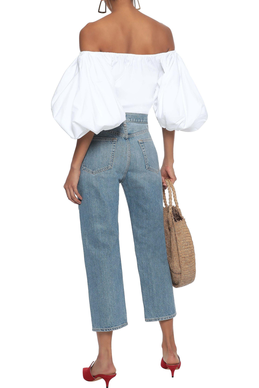 274f44a3c9a193 Caroline Constas - Woman Jolie Off-the-shoulder Stretch-cotton Poplin  Blouse White. View fullscreen