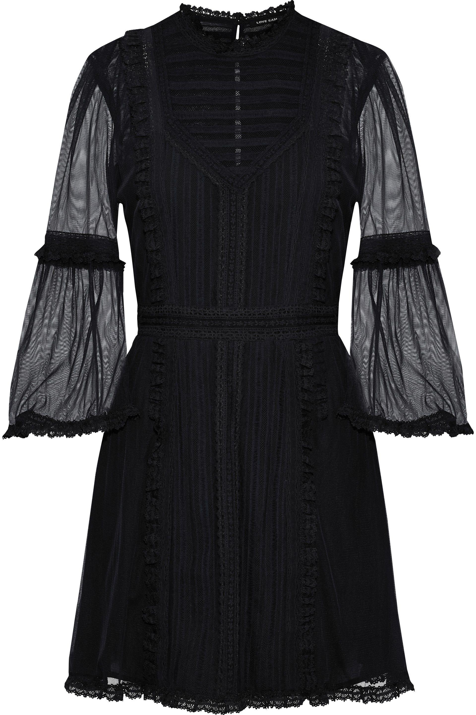 f08473b078 Love Sam Woman Sada Paneled Lace And Tulle Mini Dress Black in Black ...
